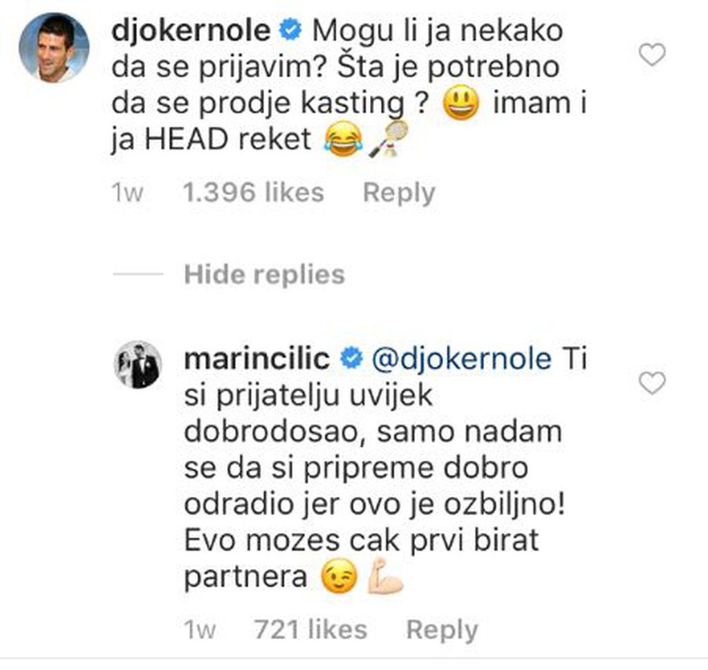 Prepiska Čilića i Lovrena (Instagram: Marin Čilić)