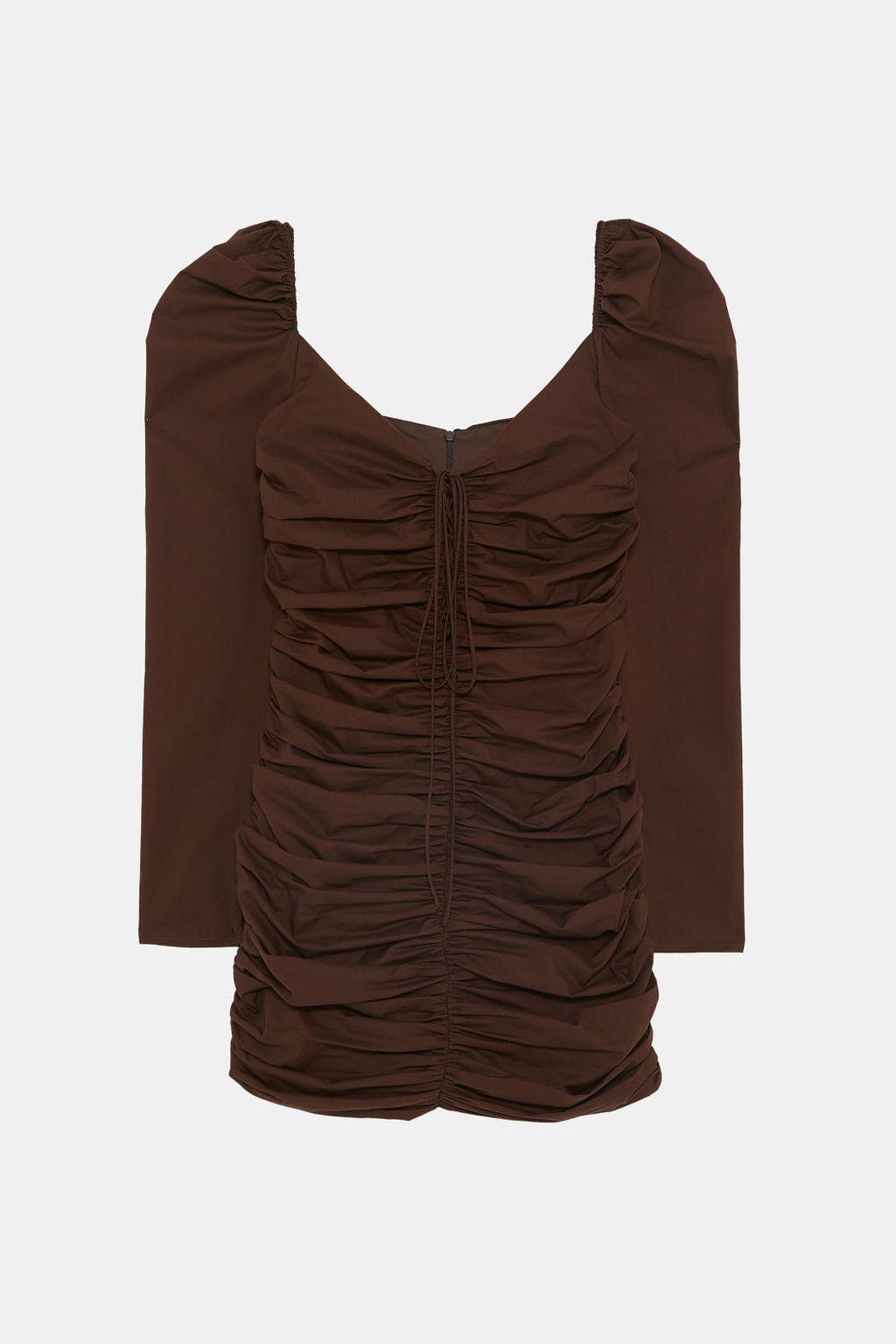 Drapirana smeđa haljina iz Zare - 2