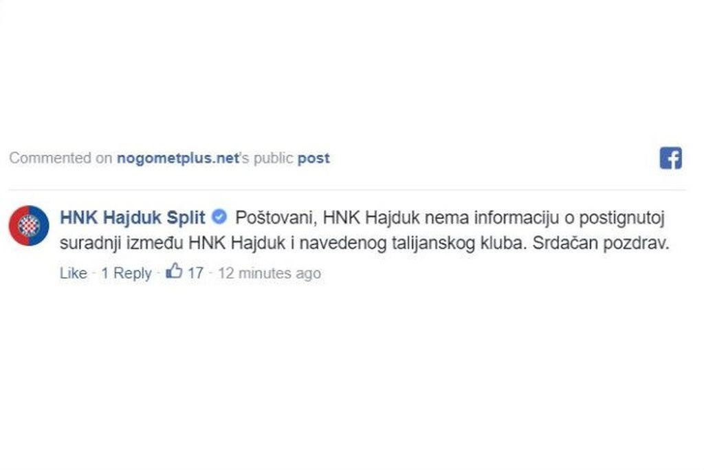Komentar Hajduka (Foto: Screenshot)