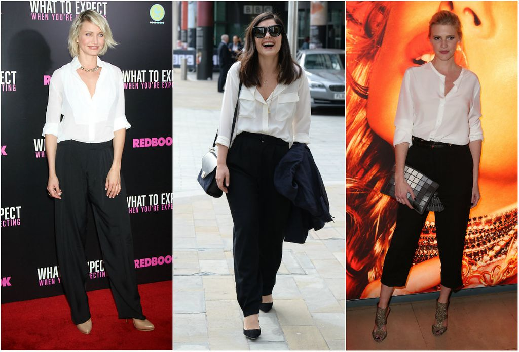 Klasične crne hlače i bijela košulja