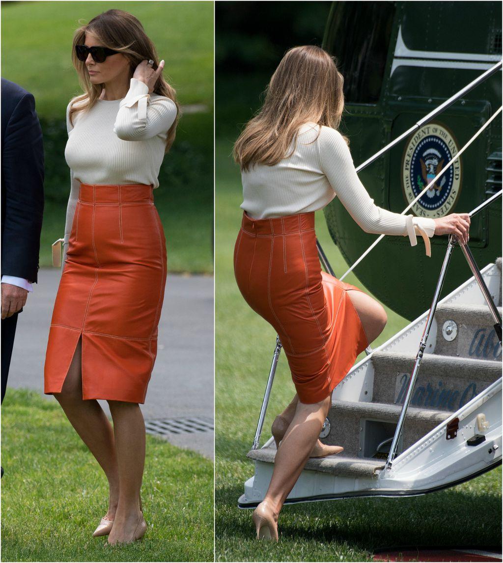 Kožnate suknje već su joj stvarale problem, ali prva dama izbjegla je nezgodu