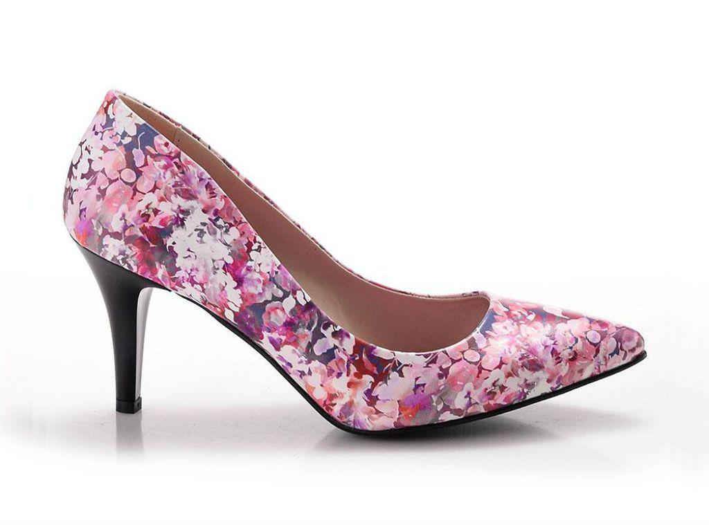Cipele na visoku potpeticu s cvjetnim dezenom - 3