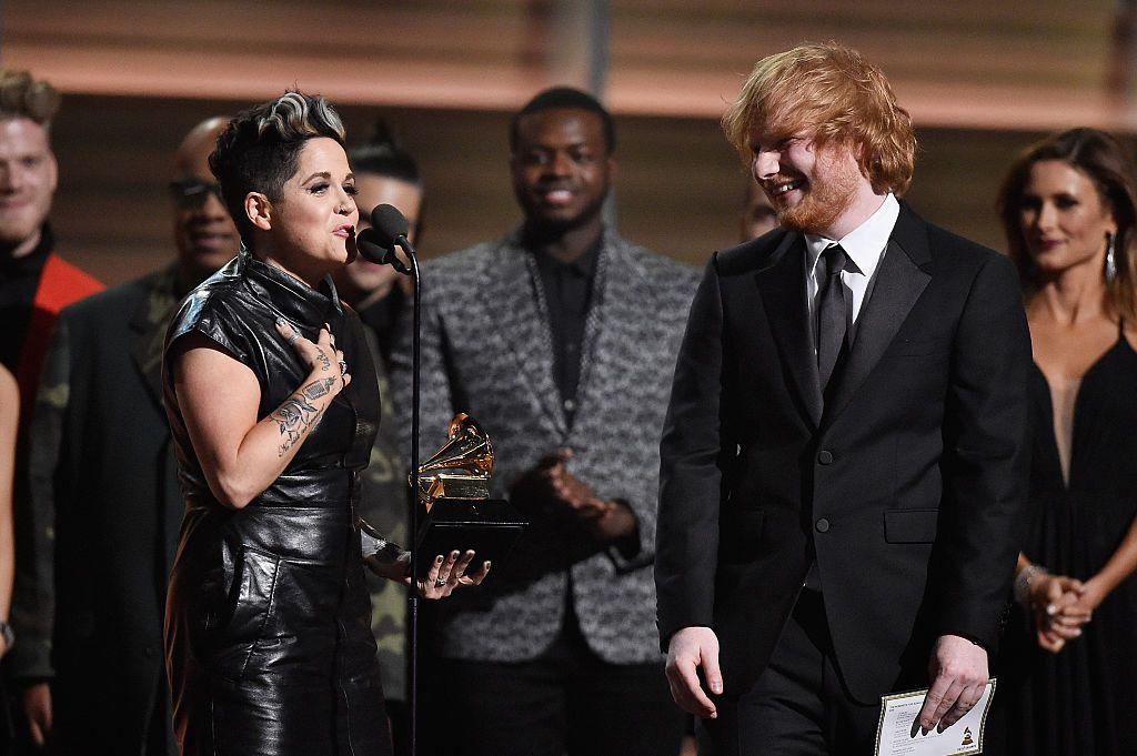 Amy Wadge i Ed Sheeran na dodjeli Grammyja