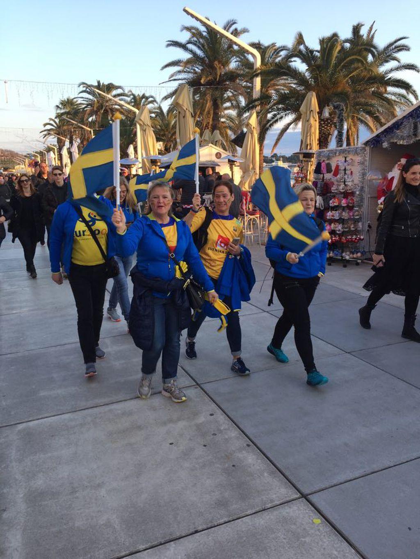 Švedski navijači na Rivi