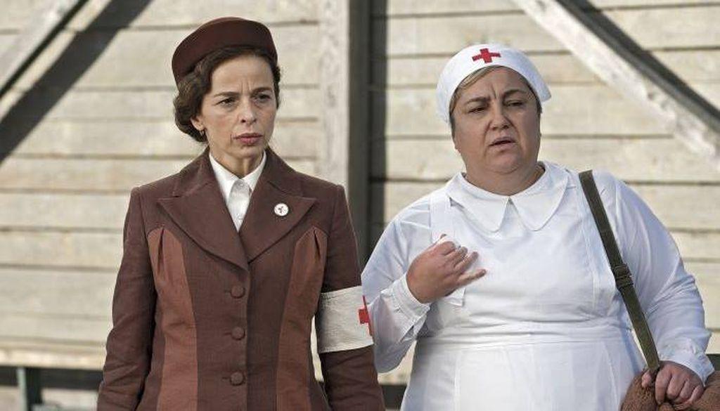 Alma Prica i Areta Ćurković na snimanju igrano-dokumentarnog filma \'Dianina lista\'
