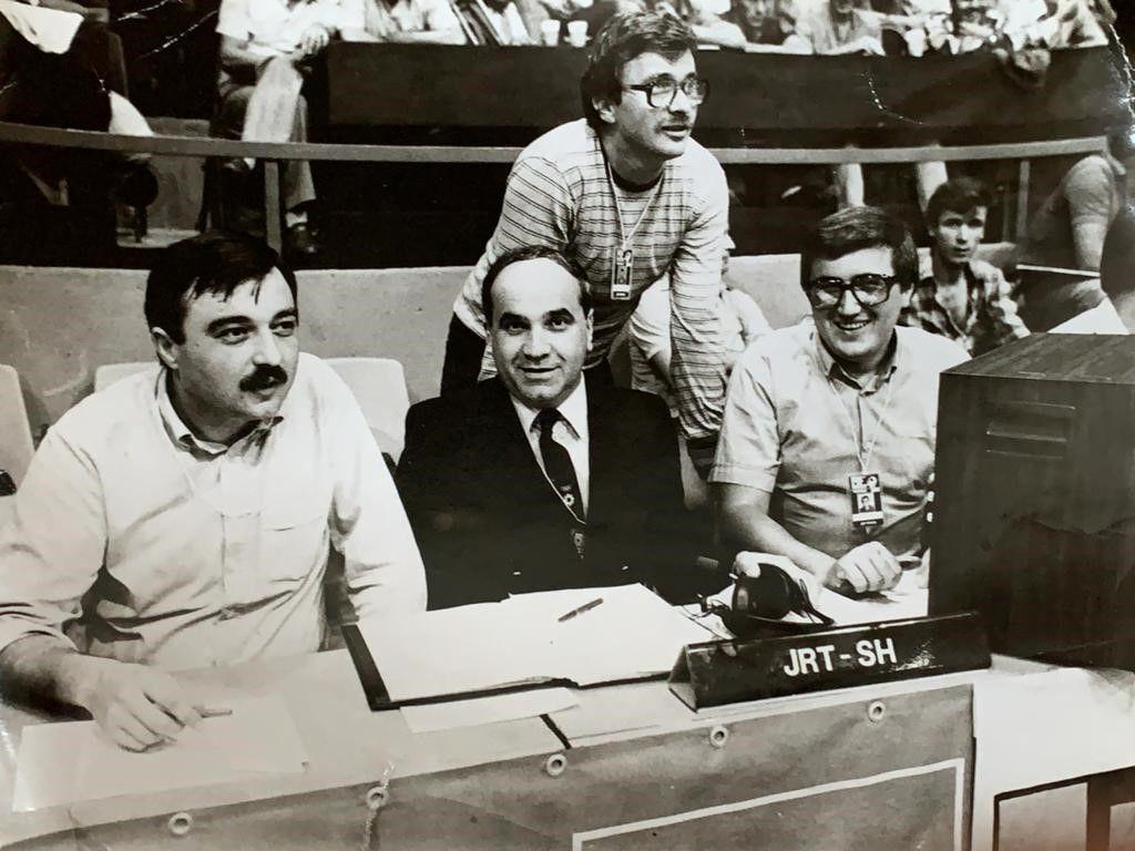 Mirko Kovačević, Zoran Popovski, Sead Hadžiahić i Momir Jelovac - redakcija TV Sarajeva