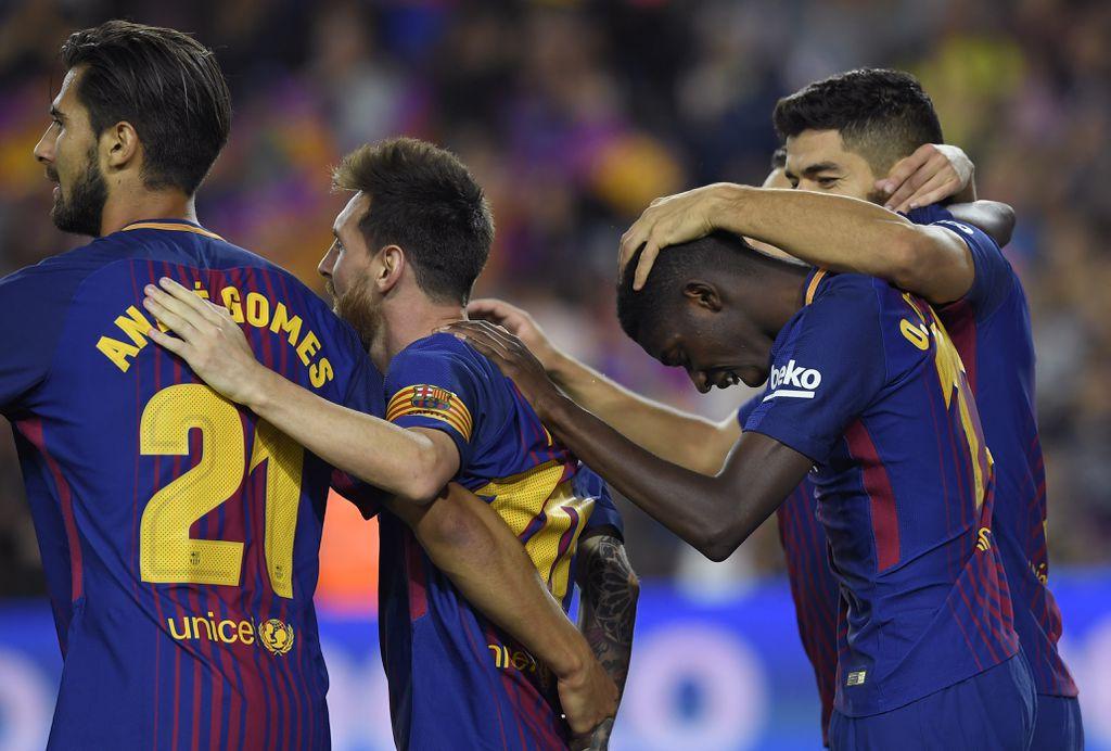Luis Suarez, Ousmane Dembele, Lionel Messi i Andre Gomes (Foto: AFP)