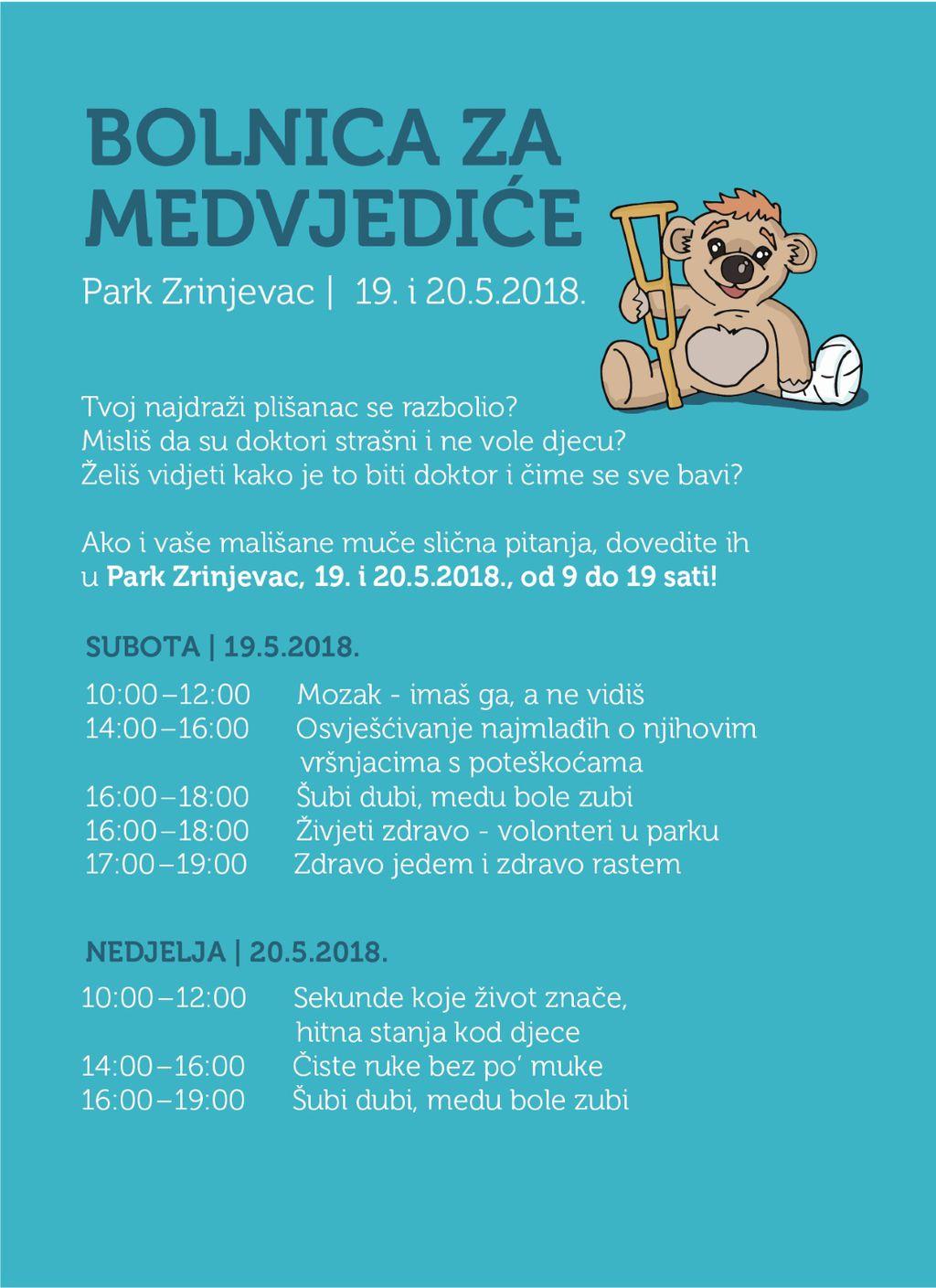 Raspored radionica 'Bolnice za medvjediće'
