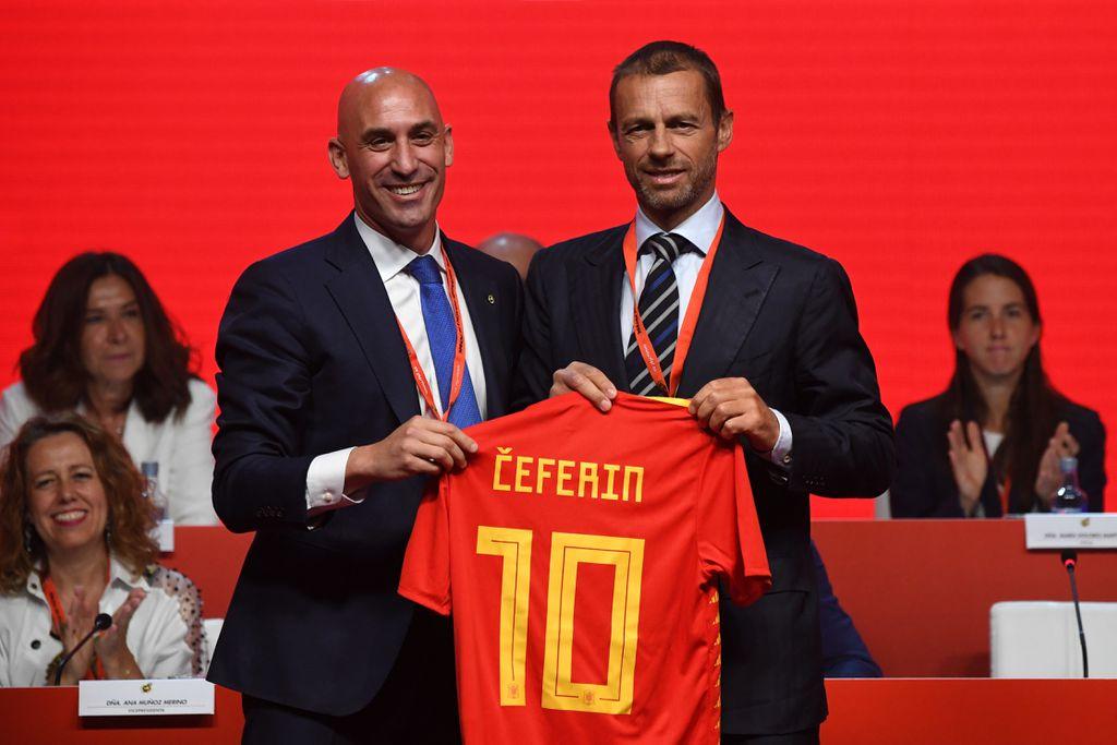 Luis Rubiales i Aleksander Čeferin, predsjednik Španjolskog nogometnog saveza i predsjednik UEFA-e (Foto: AFP)