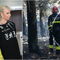 Influencerica Petra Dimić i vatrogasac koji gasi požar na Pagu (Foto: Jurica Galoic/DinoStanin/Pixsell)