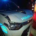 Razbijeno policijsko vozilo (Foto: PU karlovačka)