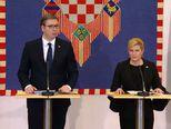 Kolinda Grabar Kitarović i Aleksandar Vučić daju izjave nakon sastanka (Foto: Dnevnik.hr)