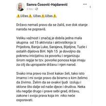 Samra Ćosović-Hajdarević, status (Screenshot:Radio Sarajevo)