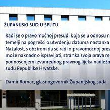 Županijski sud u Splitu - priopćenje