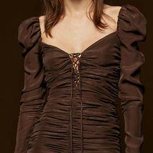Drapirana smeđa haljina iz Zare - 3