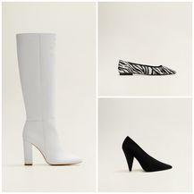 Bijele čizme 1199,90 kn, cipele sa zebrastim uzorkom 449,90 kn, kožnate cipele