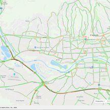 Promet u Zagrebu oko 19 sati (Screenshot: Google karta promet)