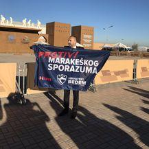 Hrvoje Zekanović jedini prosvjednik protiv Marakeškog dokumenta (Foto: Sabina Tandara Knezović)