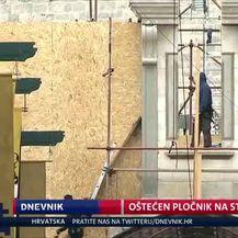 Oštećen pločnik na Stradunu (Video: Dnevnik Nove TV)