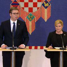 Kolinda Grabar-Kitarović i Aleksandar Vučić daju izjave nakon sastanka (Foto: Dnevnik.hr)