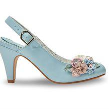 Cipele na visoku potpeticu s cvjetnim dezenom - 1