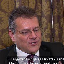 Maroš Šefčovič, potpredsjednik Komisije zadužen za energetsku uniju, i Katarina Alvir (Video: Vijesti u 17h)
