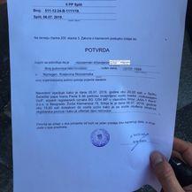 Potvrda policije o oštećenju automobila (Foto: Dnevnik.hr)