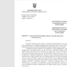 Pismo ministrice Divjak Ekonomskom fakultetu (Foto: Dnevnik.hr)