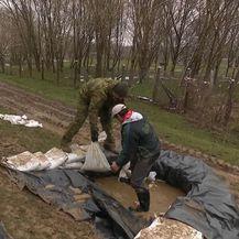 Vojska postavlja zečji nasip kod Jasenovca (Foto: Dnevnik.hr)