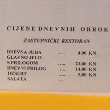 Cjenik u saborskom restoranu