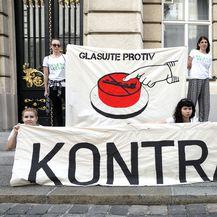 Aktivisti Zelene akcije pred Saborom (Foto: Patrik Macek/PIXSELL)