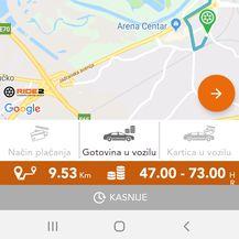 Cijena vožnje Špansko - Lanište službom Ride2 (Foto: Čitatelj)