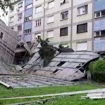 Ogromna krovna konstrukcija pala na tlo u Zagrebu (Video: Dnevnik.hr)