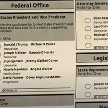 Glasački listić na izborima u SAD-u - 1