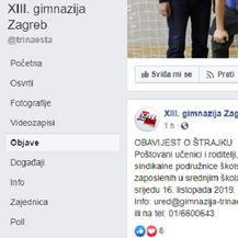 Objava XIII. gimnazije Zagreb o štrajku (Foto: screenshot)