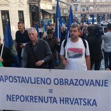 Prosvjedna povorka prosvjetara na putu prema Markovu trgu (Foto: Dnevnik.hr)