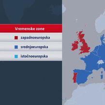 Vremenske zone u Europi (Foto: Dnevnik.hr)