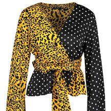Boohoo bluza točkastog i leopard uzorka - 3