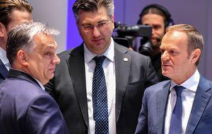 Viktor Orban, Andrej Plenković i Donald Tusk na summitu u Bruxellesu (Foto: Arhiva/AFP)