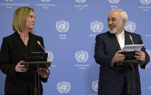 Federica Mogherini, šefica vanjske i sigurnosne politike EU-a, i iranski ministar vanjskih poslova, Mohammad Javad Zarif, na konferenciji za novinare u Beču održanoj 16.01.2018. (Foto: AFP)