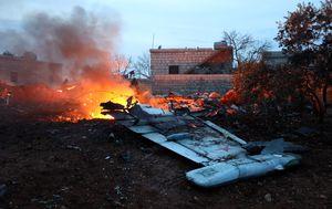 Ostaci srušenog ruskog Suhoja-25 kod Idliba (Foto: AFP)