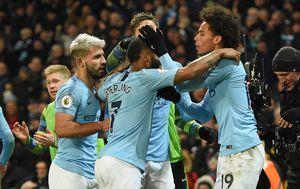 Leroy Sane slavi pobjedu sa suigračima iz Manchester Cityja