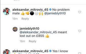 Mitrović odgovorio igraču kladionice (Screenshot: Twitter)
