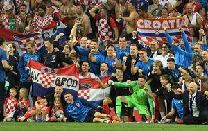 Vatreni nakon pobjede nad Engleskom (Foto: AFP)