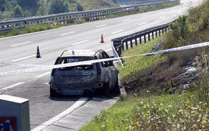 Izgorjeli Ford na autocesti (Foto: Goran Kovacic/PIXSELL)