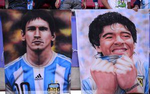 Posteri Messija i Maradone (Foto: AFP)