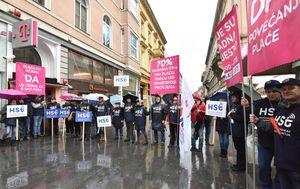 Prosvjed radnika HT-a (Foto: Davor Visnjic/PIXSELL)