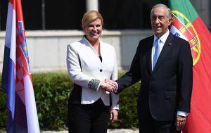 Predsjednica Grabar-Kitarović i portugalski predsjednik Marcelo Rebelo de Sousa (Foto: AFP)