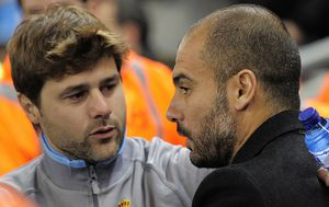 Mauricio Pochettino i Pep Guardiola u derbiju Barcelone (Foto: AFP)