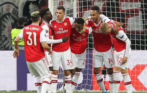 Arsenal slavi pogodak (Foto: AFP)